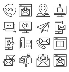 contact us line icons for web and mobile app vector image