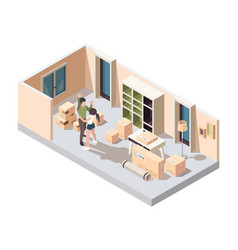 couple moving packing happy young family opening vector image