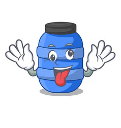 Crazy plastic barrel container for fish cartoon vector