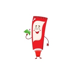 Cute and funny toothpaste character with smiling vector