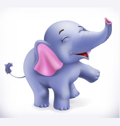 Cute baby elephant cartoon character funny vector