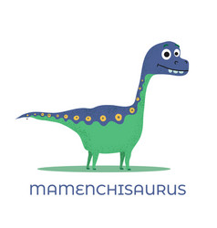 cute dinosaur mamenchisaurus cartoon drawn for tee vector image