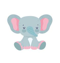 cute elephant sitting animal wildlife cartoon vector image