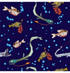 deep-sea fishes seamless vector image