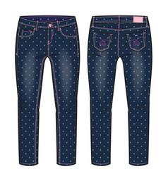 Denim pants for a girl vector