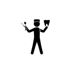 dentist icon black on white background vector image