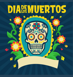 dia de los muertos design surrounding with floral vector image