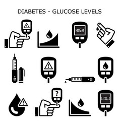 diabetes diabetic healthcare icons set vector image