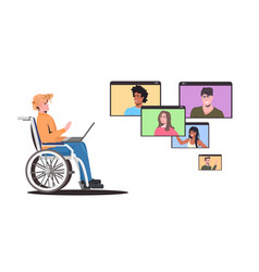 disabled man wheelchair chatting with friends vector image