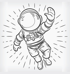 Doodle floating astronaut simple sketch drawing vector