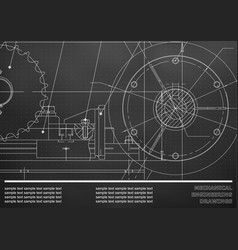 Drawing mechanical drawings on a black background vector