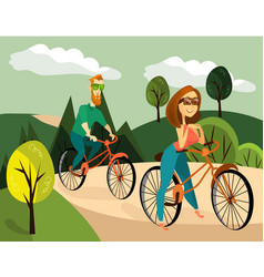 Family couple cycling vector