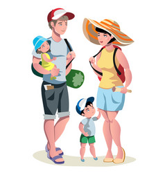 family vacation with children and suitcases vector image