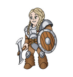 female warrior with a shield and axe isolated on vector image