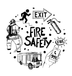 Fire safety and means of salvation icons set in vector