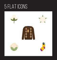 Flat icon fiber set of bud pullover cotton and vector