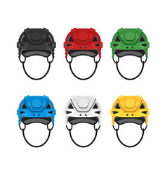 Flat style set of hockey helmet icon for web vector
