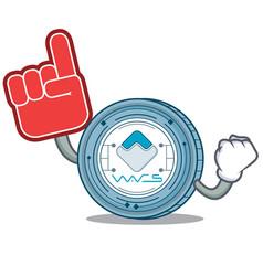 Foam finger waves coin mascot cartoon vector