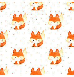 Fox seamless pattern hand drawn painted vector