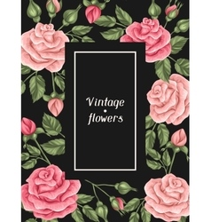Frame with vintage roses Decorative retro flowers vector