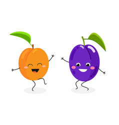 funny cartoon plum and apricot vector image