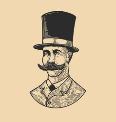 gentleman in vintage hat in engraving style vector image