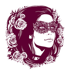 Girl in vintage mask with hair decorated with vector