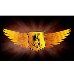 grunge gold emblem vector image