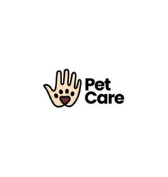 hand palm paw pet care logo icon vector image