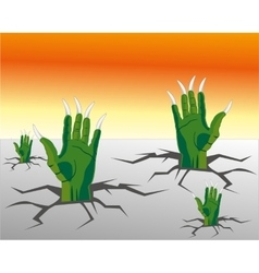 Hands of the crock climb from land vector