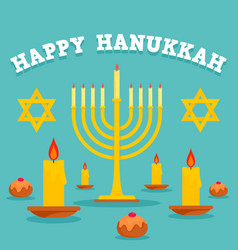 happy hanukkah candles concept background flat vector image