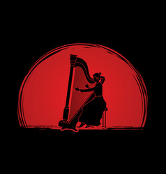 Harp player musician play lyre vector