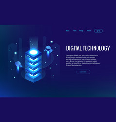 isometric digital technology web banner analysis vector image
