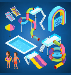 isometric pictures of water park various vector image
