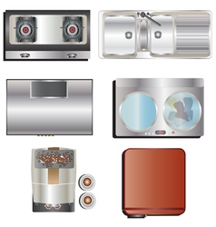 Kitchen equipment top view set 8 vector image