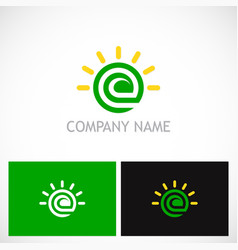 letter e ecology green leaf logo vector image