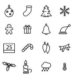 line christmas icon set vector image