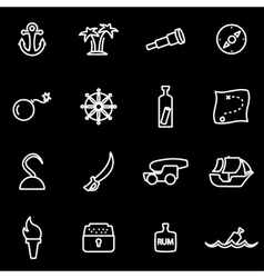 line pirate icon set vector image