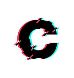 Logo letter c glitch distortion diagonal vector