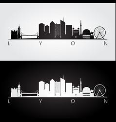 Lyon skyline and landmarks silhouette vector