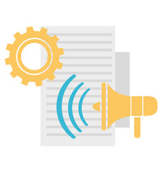 megaphone and cogwheel with document supplies vector image
