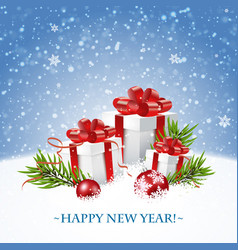 merry christmas and happy new year card with gift vector image