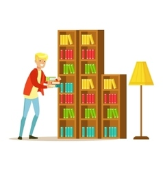 Mn Collecting The Books From The Bookshelf vector image