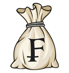 Money Bag with Swiss franc Symbol vector image vector image