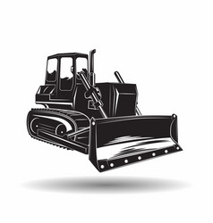 monochrome bulldozer icon vector image