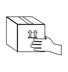 Monochrome contour with hand holding sealed vector