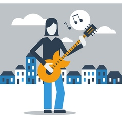 Music street performance vector