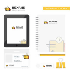 On time delivery business logo tab app diary pvc vector