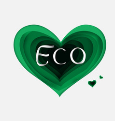 Paper art of eco green heartgradient vector
