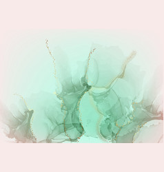 pastel green paint with gold marble ink vector image